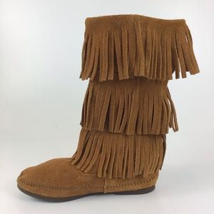 MINNETONKA Fringed Suede Moccasin Brown Boots